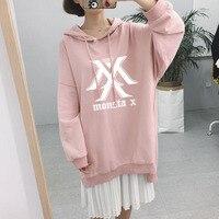 new KPOP MONSTA X shinee twice SEVENTEEN bts Bangtan Boys Autumn And Winter Pink Hooded Korean version Female version