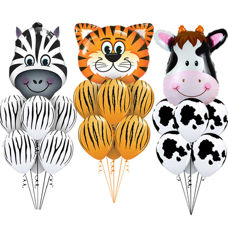 7 pcs/lot Tiger Zebra Cow Animal Air Helium Latex Balloon for Kids Gift Birthday Party Decor Animal Zoo Theme Supplies Toys
