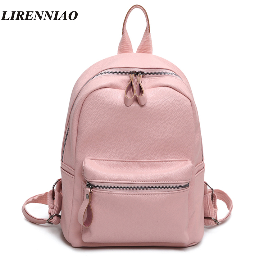 LIRENNIAO Pu Leather Backpack Women Backpack Fashion Backpacks For Teenage Girls Schoolbag Solid Women Bag 2017