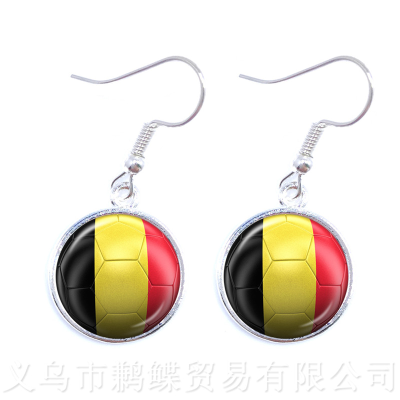 Us 0 7 65 Off Iceland Belgium Denmark Poland Mexico Brazil Football Gl Drop Earring World Cups National Flag Soccer Souvenirs For Funs In