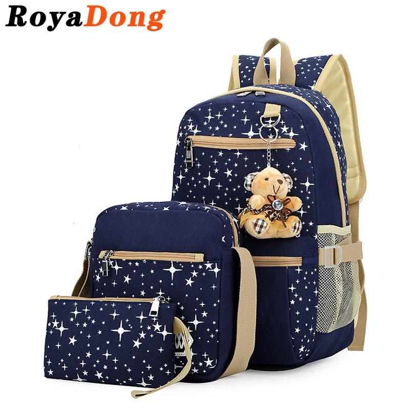 ФОТО RoyaDong 2017 Women Backpack With Bear School Bags For Teenagers Girls Daily Backpacks Star Printing Bookbag Cute Back Pack