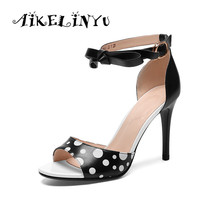 AIKELINYU Summer Handmade Elegant Pumps Super High Heel Sexy Pointed Toe Sandal Bow Sheepskin Party Office Lady Shoes Wedding