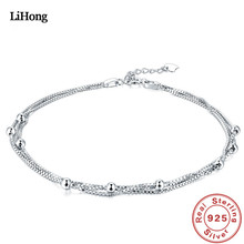 New 925 Silver Anklet Woman Jewelry 100% Sterling Summer Style