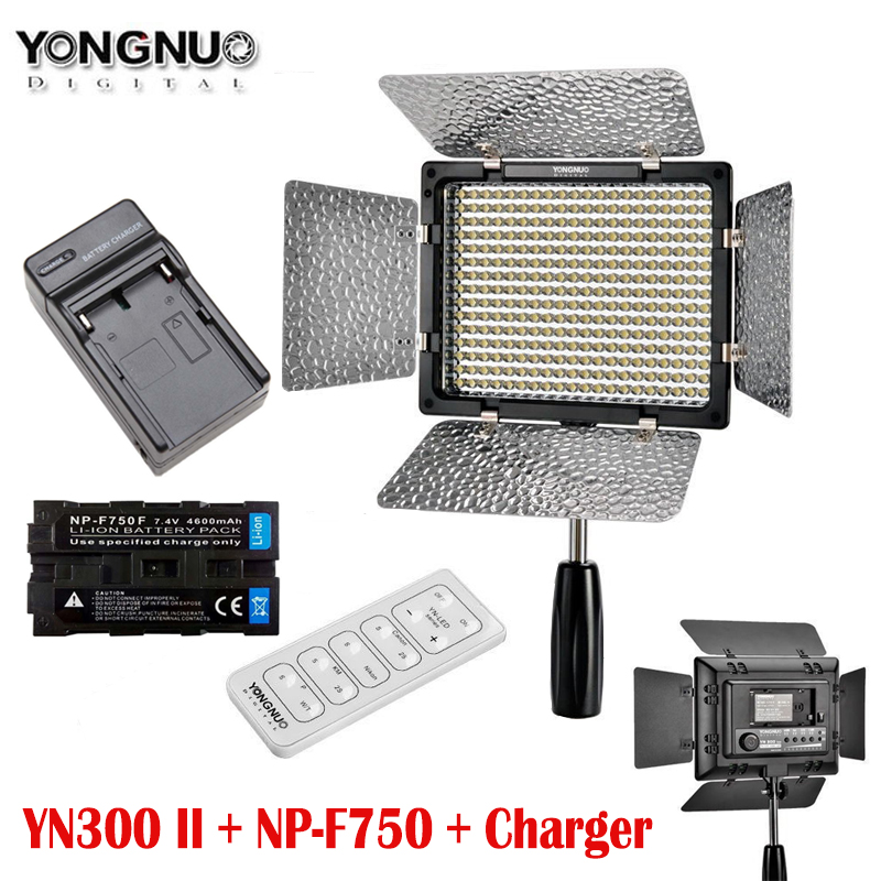 Pro Yongnuo YN300 II YN300ll LED Video Light Lighting with NP-F750 and Charger for Canon Nikon Sony Camera Camcorder np f960 f970 6600mah battery for np f930 f950 f330 f550 f570 f750 f770 sony camera