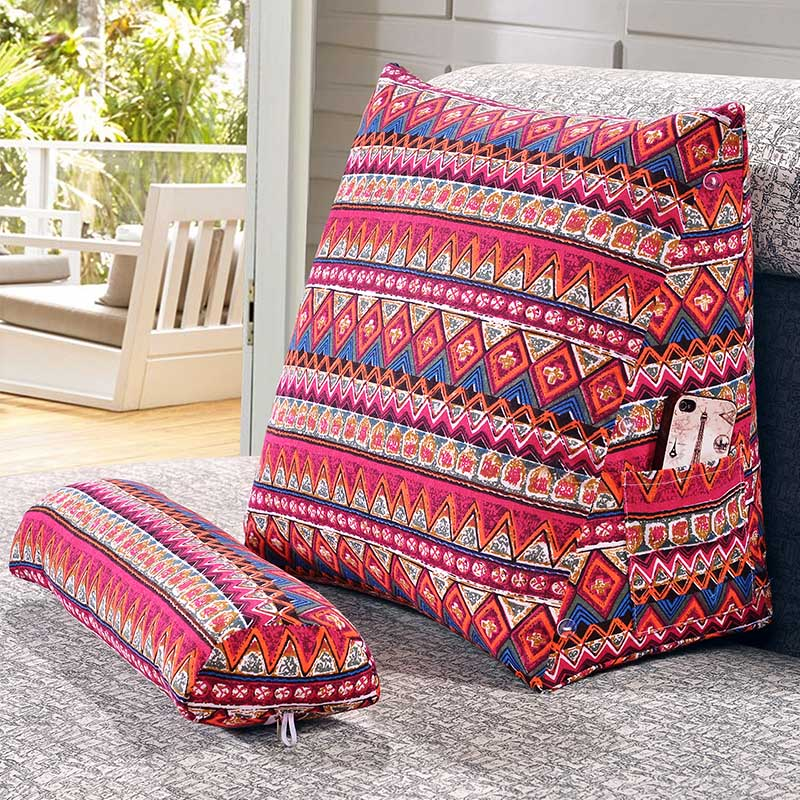 US $22.33 5% OFF|SunnyRain Cotton Linen Triangular Backrest Cushion For  Sofa Cushions For Bed Rest Pillow Back Support Large Size-in Cushion from  Home ...