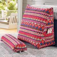 SunnyRain Cotton Linen Triangular Backrest Cushion For Sofa Cushions For Bed Rest Pillow Back Support Large Size