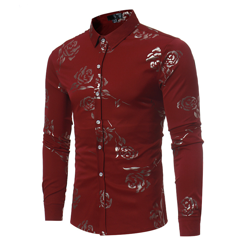 Men's Clothing Casual Shirts Jeetoo Floral Long Sleeve Shirt Men Flower Print Casual Mens Shirts British Style Fashion Male Dressing Slim Fit Plus Size 2019