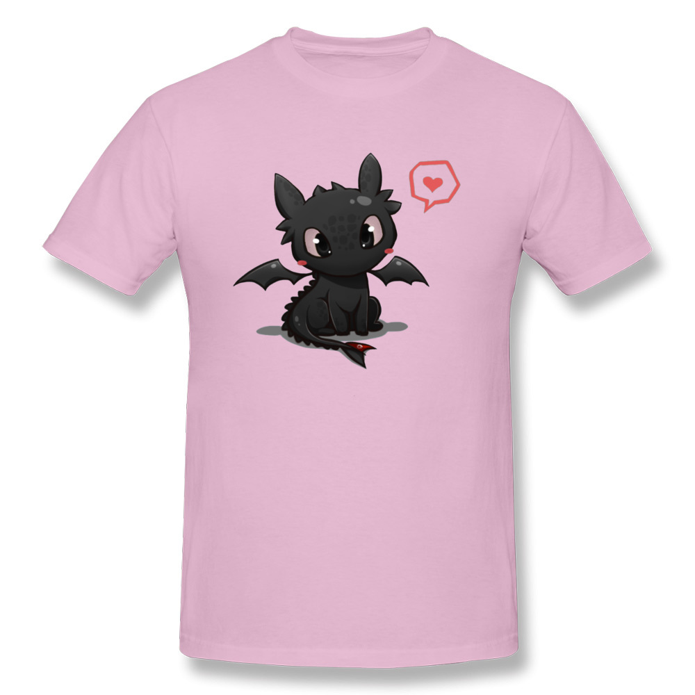 Printed Pure Cotton Cool T Shirt 2018 Fashion Short Sleeve Men Top T-shirts Simple Style NEW YEAR DAY T Shirt O-Neck How to train your Dragon 14844 pink