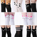2016 New Design Girls Tights Lovely Hello Kitty Bunny Stockings for Girls Cartoon Patchwork Kids Tights Summer girl stockings