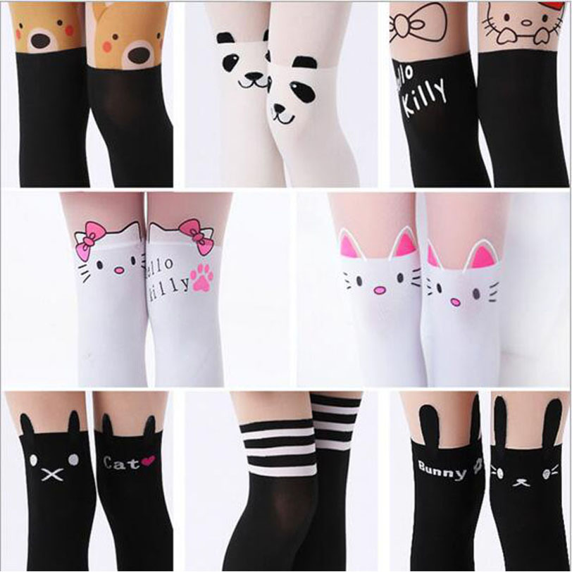 2018 New Design Girls Tights Lovely Hello Kitty Bunny Stockings for Girls Cartoon Patchwork Kids Tights Summer girl stockings rib knit tights