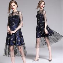 2019 Fashion Vintage Summer Dress Women Embroidery Mesh Slim Velvet Party Elegant Midi Vestidos