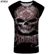 KYKU Brand Skull Tank Top Men Hip Hop Vest Mens Bodybuilding Clothing Punk Rock Singlet Ftness Clothes Gothic Sleeveless Shirt