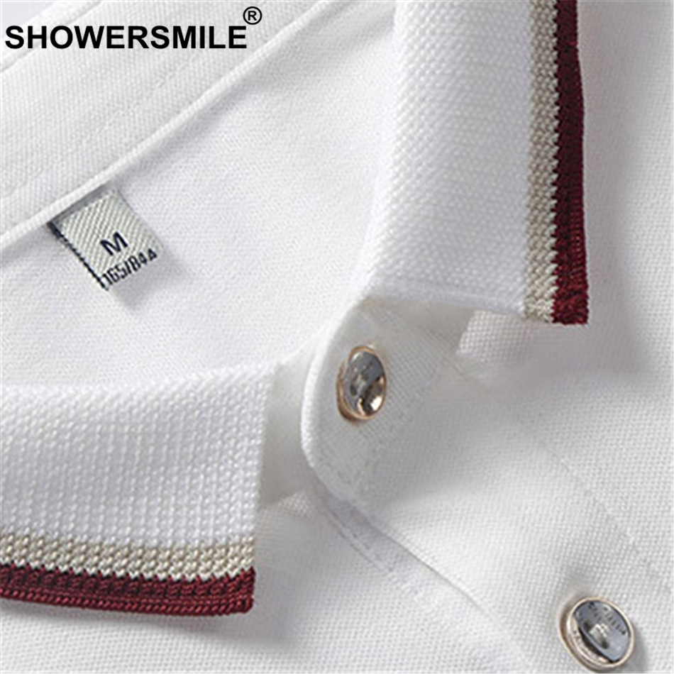 SHOWERSMILE White Cotton Men Polo Shirt Business Casual Solid Regular Fit Short Sleeve Polo T Tee Male Summer Brand Clothing 4XL