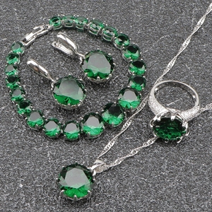 Made in China Large Green CZ Stone 925 Silver Jewelry Sets dangle Earrings/Pendant/Bracelets/Necklace/Rings For Women Gift Box