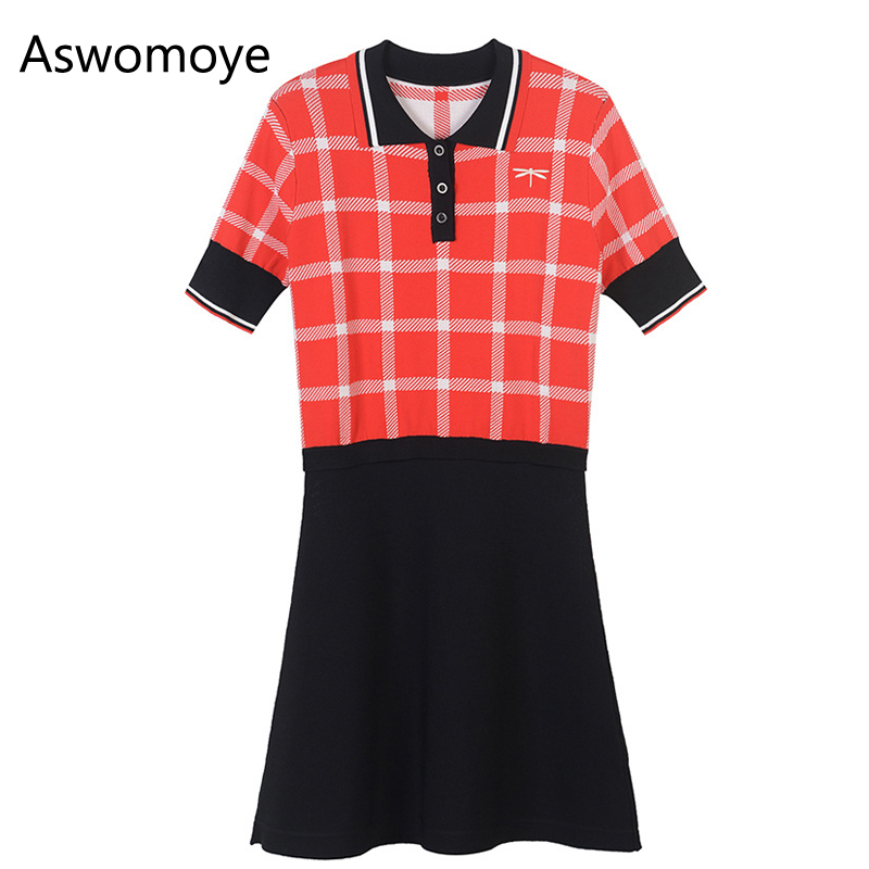 2018 Spring New Stylish High Quality Women Dress Short Sleeve Button Down Shirt Plaid Knitted Dresses Fit and Flare fit and flare button up plaid dress