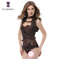 Wholesale plus size gothic steampunk women clothing waist slimming body shapewear bodysuit overbust corset 926#