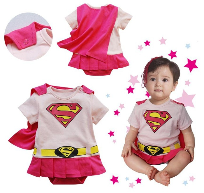 Pink Superman Costumes Summer Baby Girls' Rompers Dress Jumpsuit Kids Body Bebe Menina Roupas Bebes Newborn Baby Girl Romper newborn baby rompers baby clothing 100% cotton infant jumpsuit ropa bebe long sleeve girl boys rompers costumes baby romper