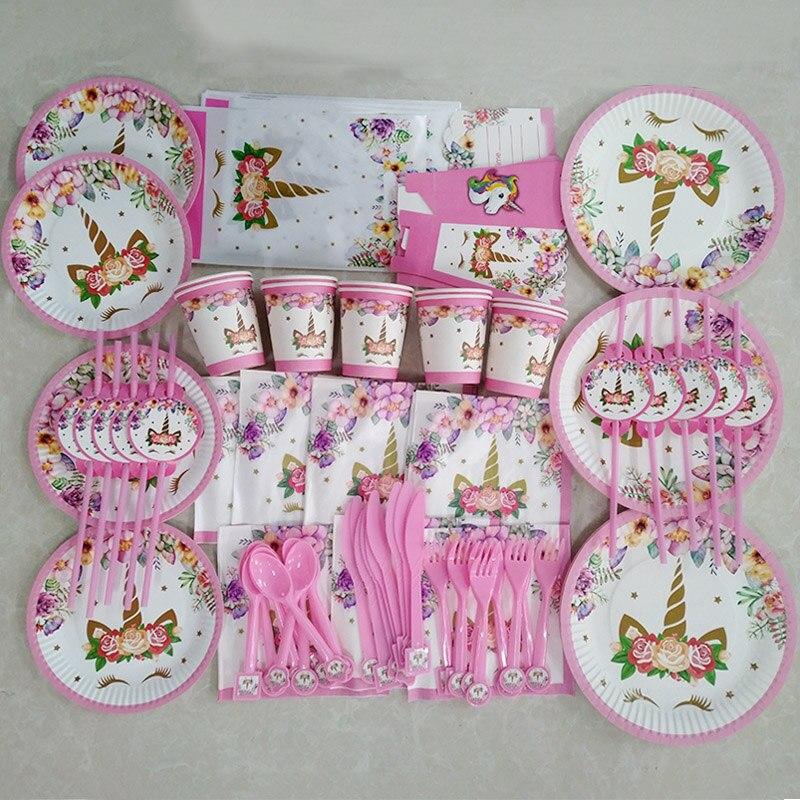 Unicorn Party Birthday Balloons Unicorn Theme Paper Plates Napkins Cake Topper Kids Happy Birthday Gifts Party Decoration