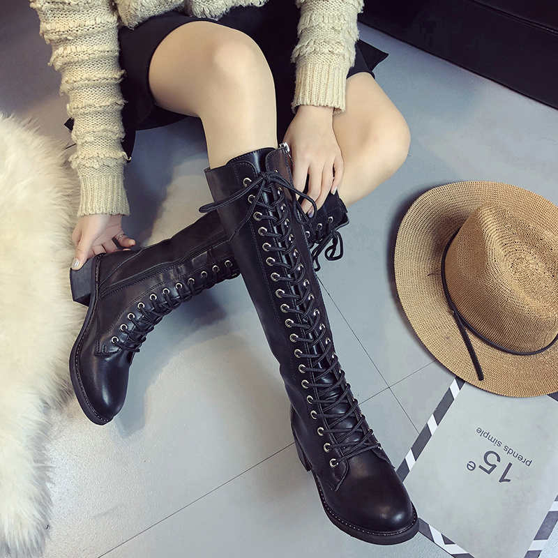 woman front lace up knee high martin boots winter warm plush gladiator long booties lady thick heel platform sapatos feminino