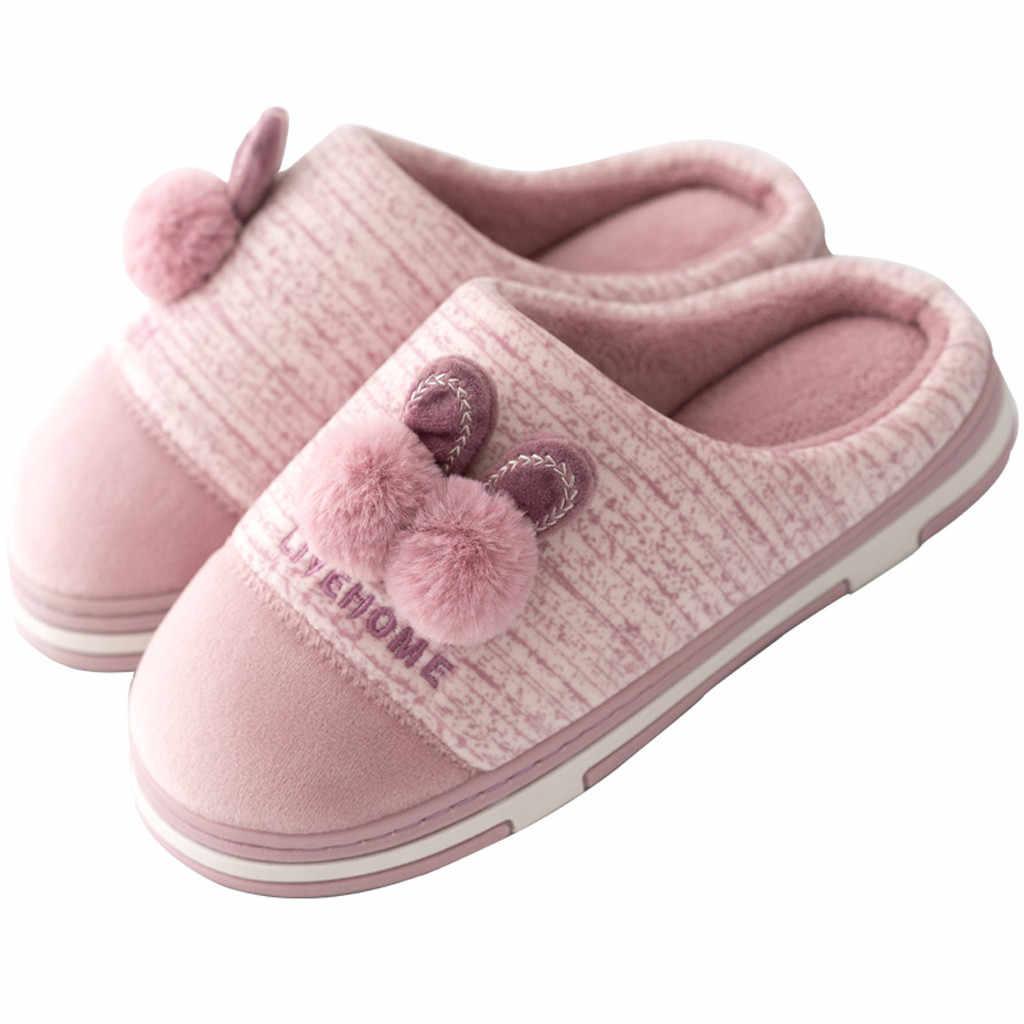 Mulheres Chinelos Em Casa de Inverno sapatos mulher Deslizamento em Flats Chinelos Chão Do Quarto Dos Desenhos Animados Não-slip Quentes Dentro de Casa Sapatos Femininos slides