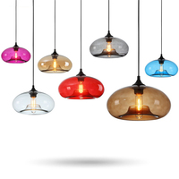 Colorful Modern LED Kitchen Dining Bar Pendant Lights Restaurant Coffee Bedroom Pendant Lamp Stained Glass Lighting Hanging Lamp