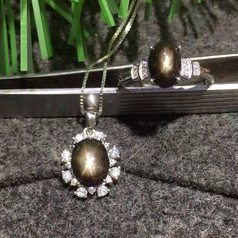 Conjunto de joyas de zafiro con luz de estrella de plata 925 sólido clásico, conjunto de joyas de GEMA de plata con colgante y anillo de zafiro natural - 3