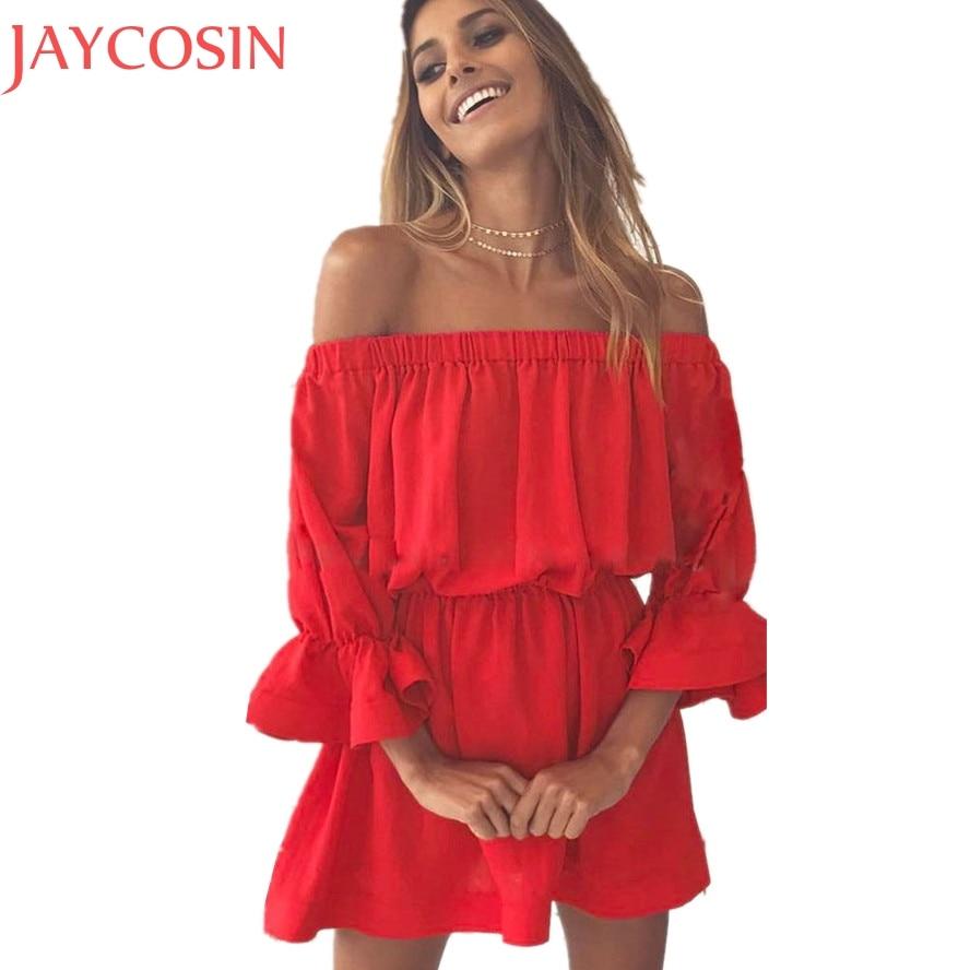 Sommer Mini Dess Frauen Mode Dame Aufflackernhülse Kleid Sexy ...