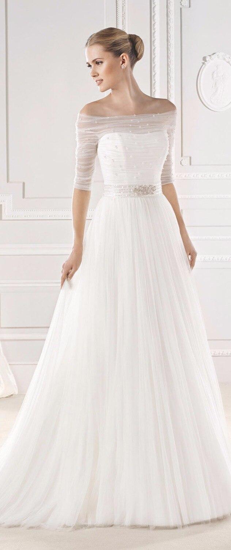 Half Sleeves Wedding Dress For Muslim Women A Line Silky Organza ...