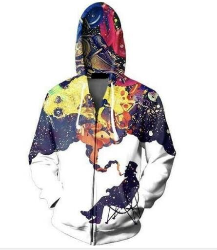 Men Smoking Galaxy Space Hoodies Casual Tops Sweatshirt Outfits Pullover Fashion Clothing Women Jumper Tops Sweats