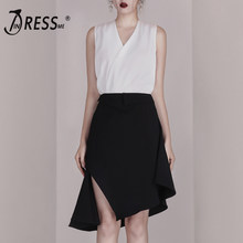 INDRESSME 2019 New Women Two Piece Sets Fashion V Neck Sleeveless White Top Sexy Office With Midi Black Skirt Casual Sets(China)