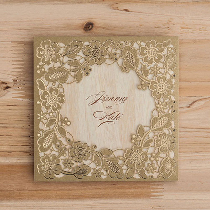 50pcs Gold Marriage Wedding Invitations Cards Laser Cut 3D Card Greeting  Cards Invite Friends Postcard Event