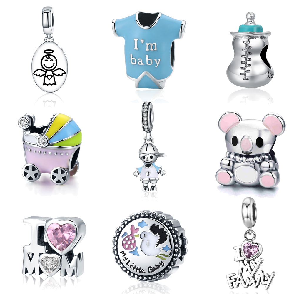 BISAER 925 Sterling Silver Guardian Angel Baby Car Bottle Bear Couple Family Pendant Beads fit Charm Bracelet DIY Jewelry Making