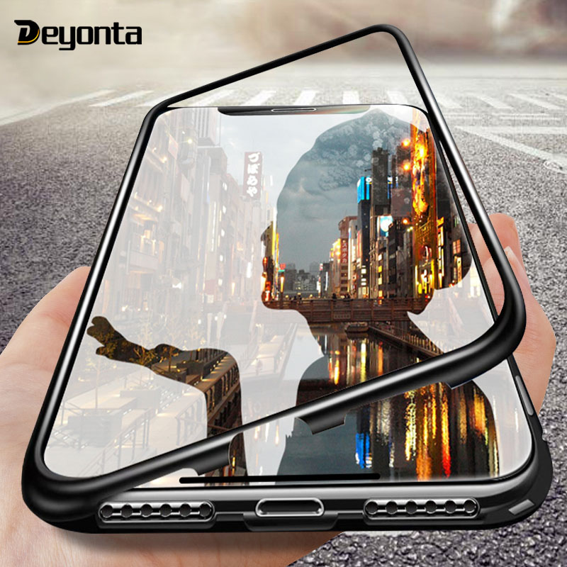 360 Magnetic Adsorption <font><b>Case</b></font> for For <font><b>Oppo</b></font> F9 F9 Pro R17 R17Pro A7 A5 <font><b>A3s</b></font> <font><b>Cases</b></font> Tempered <font><b>Glass</b></font> Back Cover Metal Frame Coque image