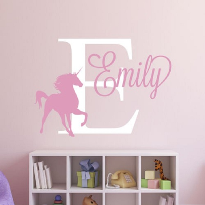 Unique personalized custom name unicorn removable decal for Kids room wall decor