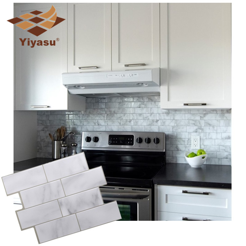 White Grey Marble Mosaic Brick Peel And Stick Wall Tile
