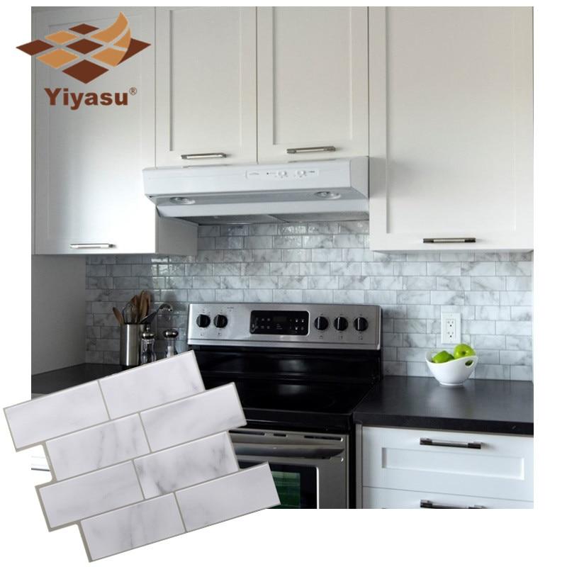 White Grey Marble Mosaic Brick Peel And Stick Wall Tile Self Adhesive Backsplash DIY Kitchen Bathroom Home Wall Sticker Vinyl 3D