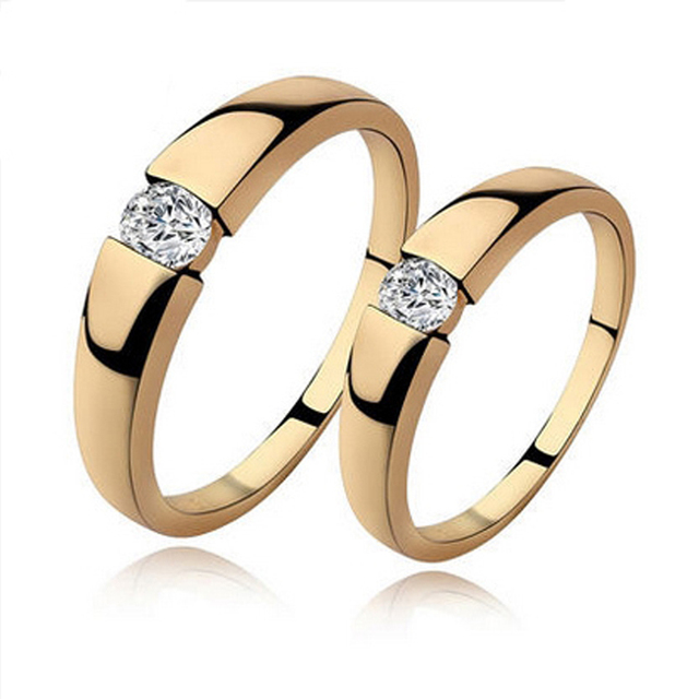 New 18k Yellow Gold Engagement Forever Love Couple Big Rings for Womens and Mens CZ Wedding Bands Pair Ring Size 5,6,7,8,9,10,11