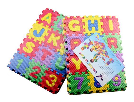 EVA spumă puzzle mats de învățare digitală scrisori engleză litere jucării educative 36 bucăți (26 bucăți litere + 10 bucăți digitale)