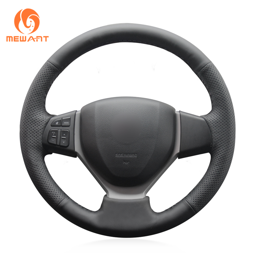 MEWANT Black Artificial Leather Car Steering Wheel Cover for Suzuki CELERIO S-CROSS SX4 2013 2014 Suzuki Vitara 2015 молдинг задней двери матовый suzuki 990e0 61m22 000 для suzuki sx4 2016