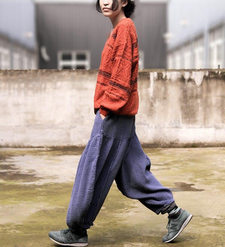 Harem Plus Casual Linen Women Navy Waist Size Elastic Lantern New Solid High 2017 Vintage Trousers Pantalon Blue Cotton Pants Femme wzqtRP5