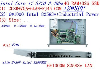 cheap server rack 1U routers with 6*1000M 82583V Gigabit with 2*SFP InteL I7 3770 3.4Ghz 4G RAM 32G SSD support ROS RouterOS etc