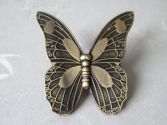 1.25 Butterfly Drawer Pulls Dresser Pull Kitchen Cabinet Handle Pulls Handles Antique Bronze / Furniture Hardware Unique 32 mm 2 25 drop bail dresser drawer handles pulls knobs ceramic ivory cream antique bronze kitchen cabinet door handle pull 57 mm