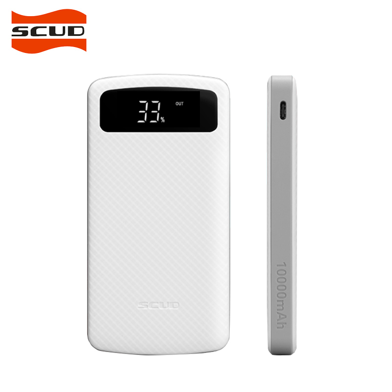 Scud power bank 10000mah portable external battery pack backup charger lcd dual usb powerbank for phones