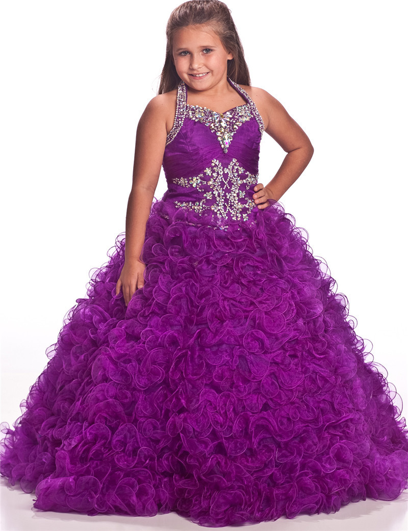 New Arrival Purple White Halter Rhinestone Ball Gown