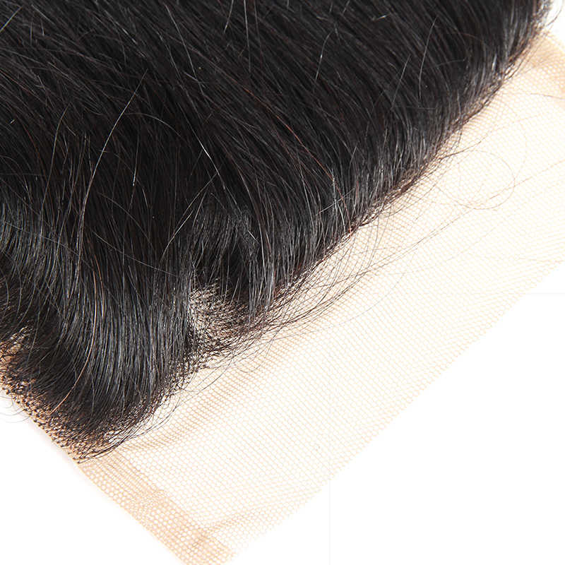 Pelo lacio brasileño Cierre de encaje suizo 100% humano Remy Cierre de cabello humano dejabu