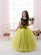 Lace and Tulle Flower Girls Dress For Weddings Jewel Ball Gown Cupcake First Communion Dress Formal 2016 Girls Pageant Gown FD34