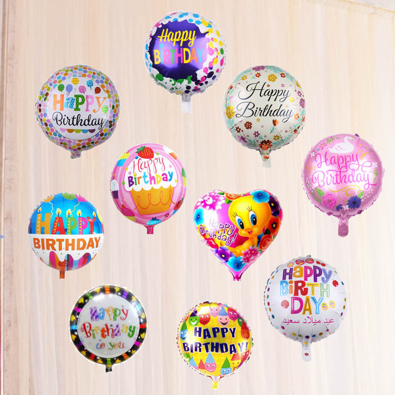 New arrival 18inch Happy Birthday aluminium foil balloons colorful birthday decoration Kids toys 150pcs lot wholesale