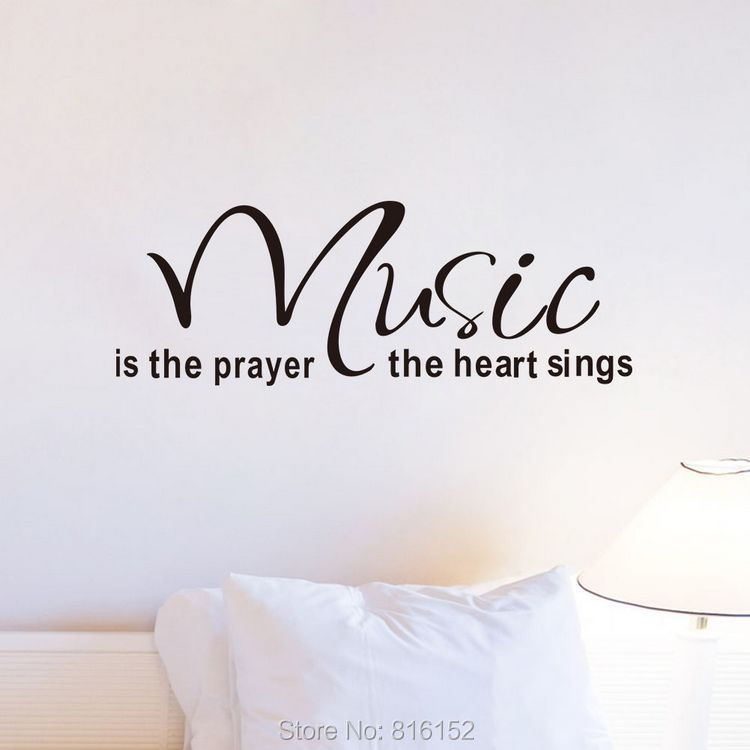Music Is The Prayer The Heart Sings English Quote Wall Decal Home