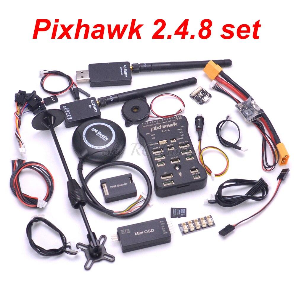 Oyuncaklar ve Hobi Ürünleri'ten Parçalar ve Aksesuarlar'de Pixhawk PX4 Otopilot PIX 2.4.8 uçuş kontrolörü emniyet anahtarı Buzzer 8N GPS Mini OSD I2C PPM rgb modülü 433/915 Telemetri'da  Grup 1