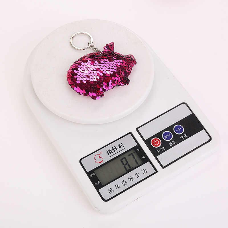 Bonito porco chaveiro glitter pompom lantejoulas chaveiros presentes para as mulheres llavero chaveros encantos saco do carro acessórios chaveiro s0750